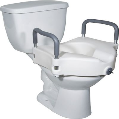 Buy 2 in 1 Locking Elevated Toilet Seat with Tool Free Removable Arms